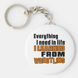 I learned From Wrestling Basic Round Button Keychain