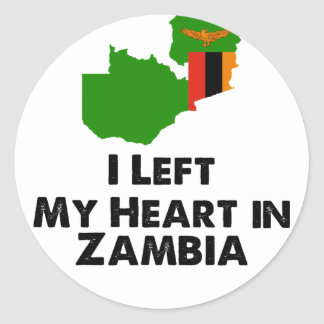 I Left My Heart in Zambia Classic Round Sticker
