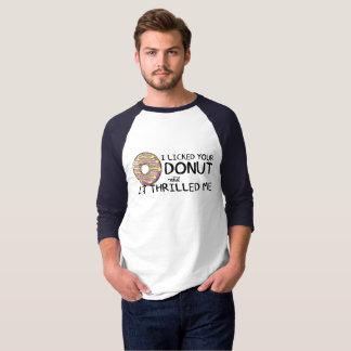 """I Licked Your Donut"" Men's 3/4 Sleeve Raglan T-Shirt"