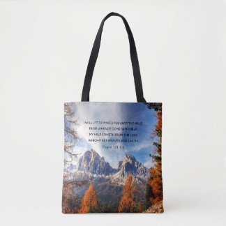 I Lift My Eyes Mountain Scene With Psalm 121 1-2 Tote Bag