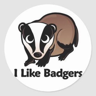 I Like Badgers Round Sticker
