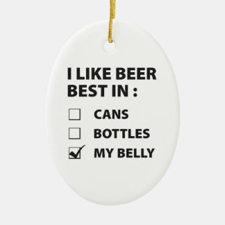 I Like Beer Best In My Belly Ceramic Ornament