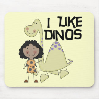 I Like Dinos - African American Girl Mouse Pad