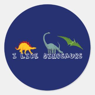 I Like Dinosaurs Blue Classic Round Sticker