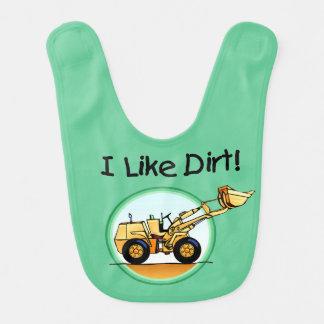 I Like Dirt Construction Vehicle Bib