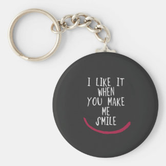 I like it when you make me smile basic round button keychain
