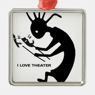 I like kokopelli and I love to theater Silver-Colored Square Ornament