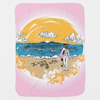 """""""I like MY life"""" beach girl blankie Swaddle Blankets"""