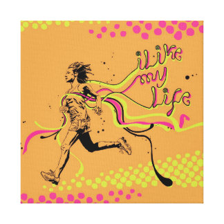 """""""I like My life"""" running canvas Stretched Canvas Prints"""