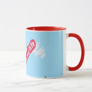 """I like MY life"" snowboard mug"