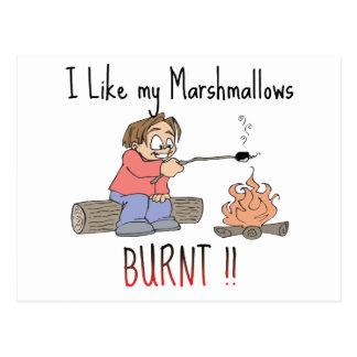 I like my mashmallows burnt postcard