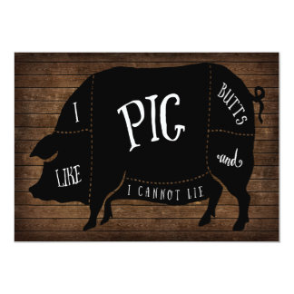 I Like Pig Butts and I Cannot Lie BBQ Wood Chalk Card