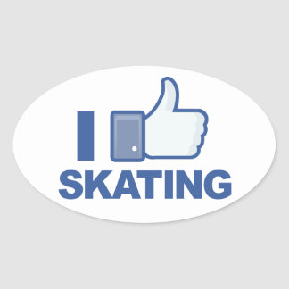 I LIKE SKATING facebook LIKE thumb up graphic Oval Sticker