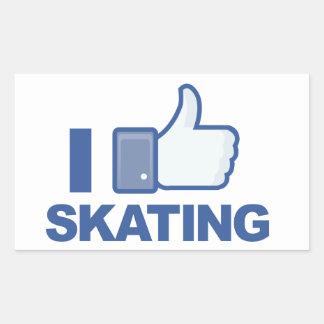 I LIKE SKATING facebook LIKE thumb up graphic Rectangular Sticker