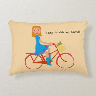 I like to ride my bike decorative pillow