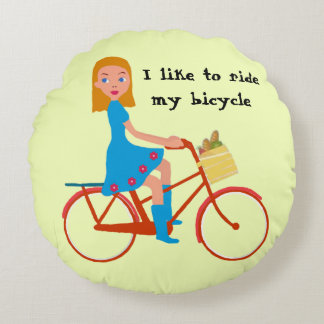 I like to ride my bike round pillow