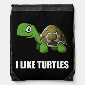 I Like Turtles Drawstring Bag