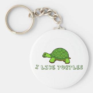 I Like Turtles Green Cute Keychain