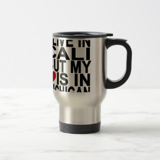 I LIVE IN CALI BUT MY HEART IS IN MICHIGAN black T Travel Mug