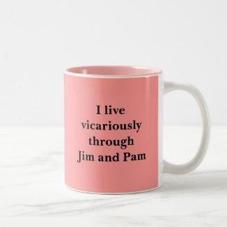 I live vicariously through Jim and Pam Two-Tone Coffee Mug