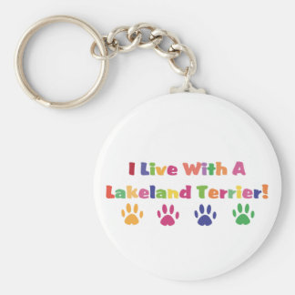 I Live With A Lakeland Terrier Basic Round Button Keychain