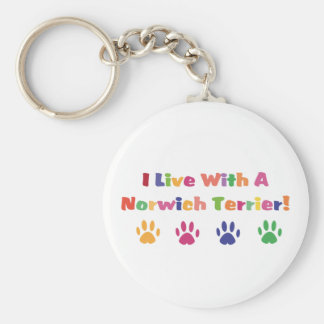I Live With A Norwich Terrier Basic Round Button Keychain