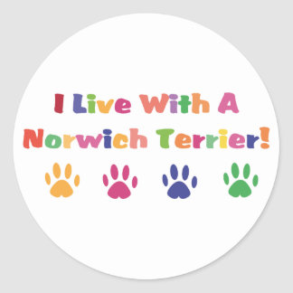 I Live With A Norwich Terrier Round Sticker