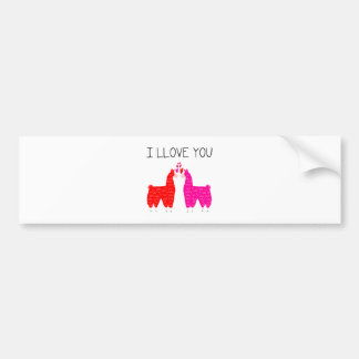 I Llove You Llama Couple Bumper Sticker