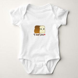 I Loaf You Kawaii Bread Food Pun Cartoon Unisex Baby Bodysuit