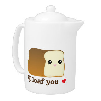 I Loaf You Kawaii Bread Funny Cartoon Food Pun