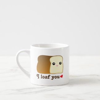 I Loaf You Kawaii Bread Funny Cartoon Food Pun Espresso Cup