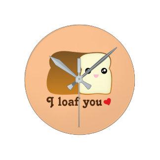 I Loaf You Kawaii Bread Funny Cartoon Food Pun Round Clock