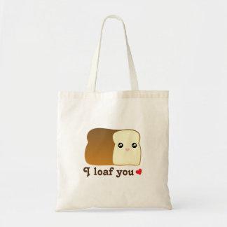 I Loaf You Kawaii Bread Funny Cartoon Food Pun Tote Bag