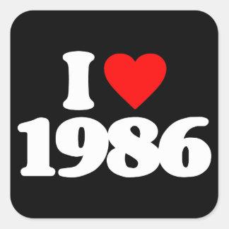 I LOVE 1986 SQUARE STICKER