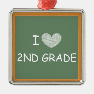 I Love 2nd Grade Silver-Colored Square Ornament