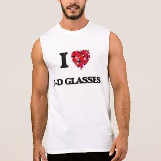I love 3-D Glasses Sleeveless Shirt