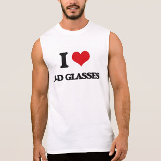 I love 3-D Glasses Sleeveless Tees