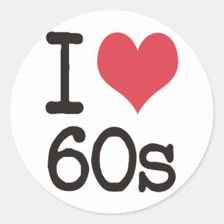 I Love 60s Vintage & Retro Designs! Round Sticker