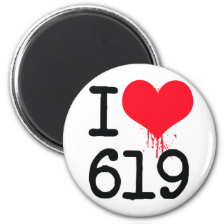 I Love 619 Area Code 2 Inch Round Magnet