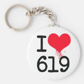 I Love 619 Area Code Basic Round Button Keychain