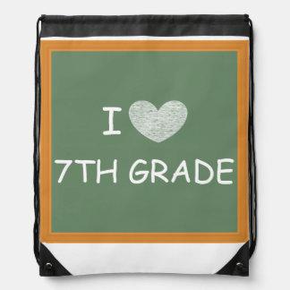 I Love 7th Grade Drawstring Backpack