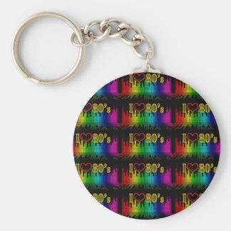 i love 80s basic round button keychain