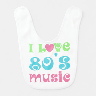 I Love 80's Music Baby Bib