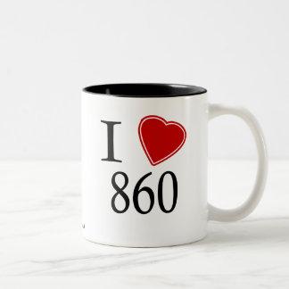 I Love 860 Hartford Two-Tone Coffee Mug