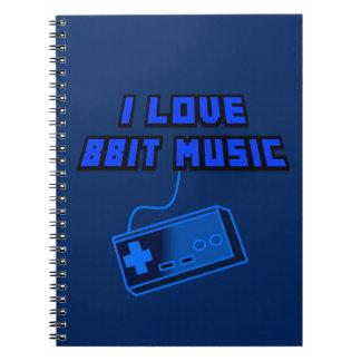 I Love 8Bit Music Blue Digital Art Graphics Spiral Note Books