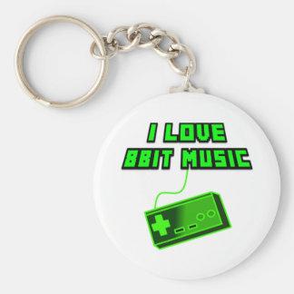 I Love 8bit Music Green Controller Digital Art Basic Round Button Keychain