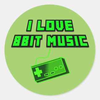 I Love 8Bit Music Green Retro Digital Art Round Sticker