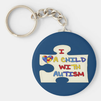 I Love A Child With Autism Basic Round Button Keychain