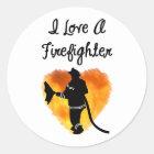 I Love A Firefighter Classic Round Sticker