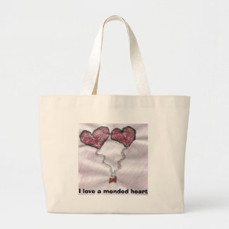I love a mended heart large tote bag